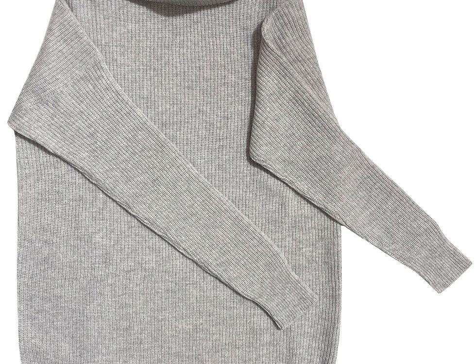Šv. pilkos spalvos ilgas kašmyro ir merino vilnos megztinis su stove