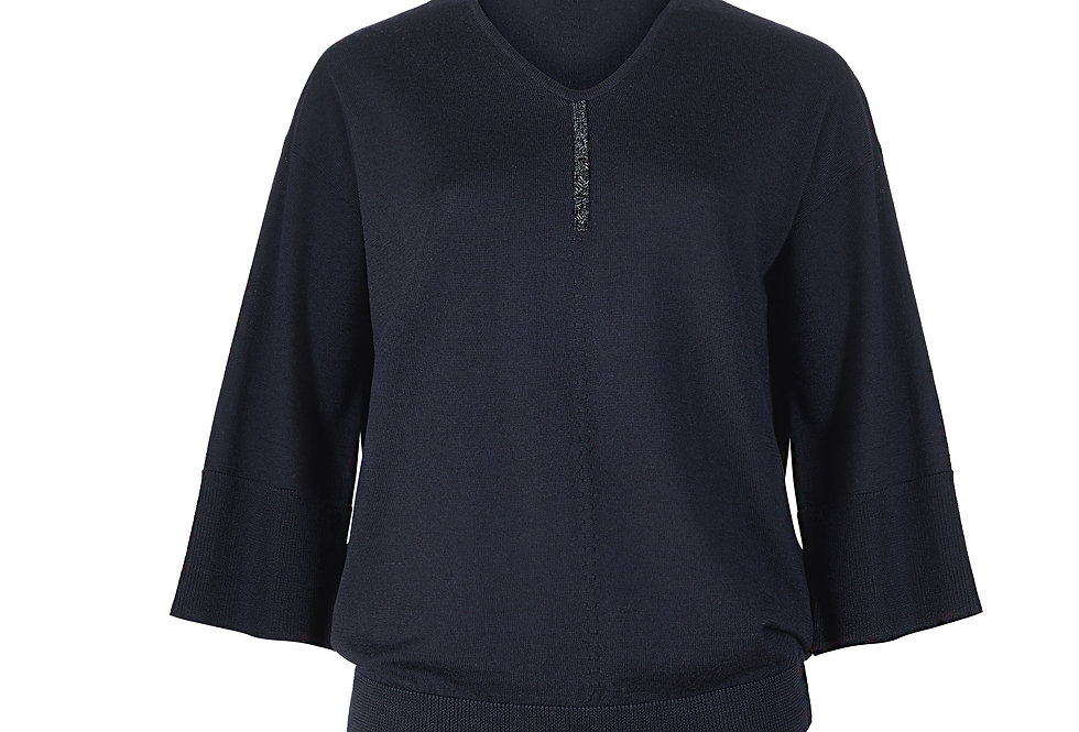 Šilko, kašmyro ir merino vilnos KIMONO megztinis mėlynas