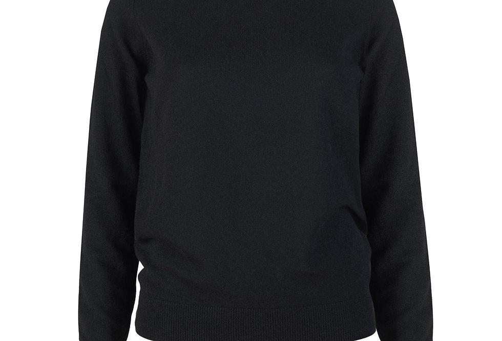 Juodas kašmyro ir merino vilnos megztinis ilgomis rankovėmis