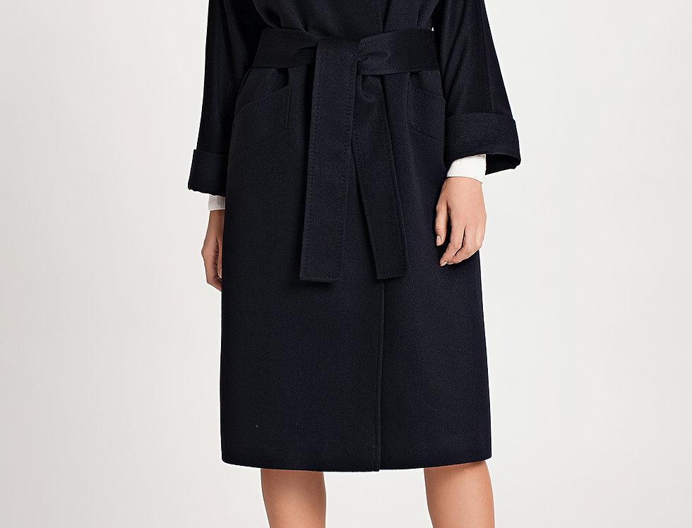 Kašmyro paltas su kailine apykakle