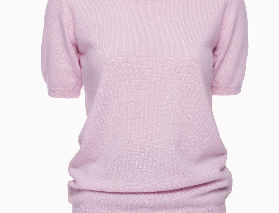 Rožinis kašmyro megztinis trumpomis rankovėmis