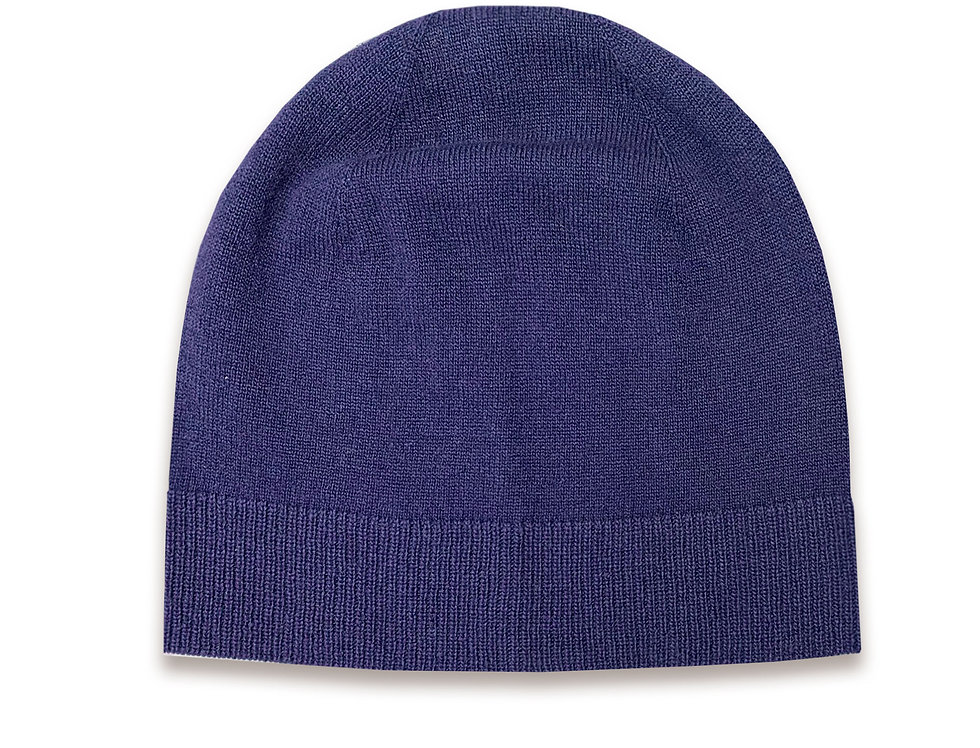 Mėlynos spalvos kašmyro ir merino vilnos kepurė