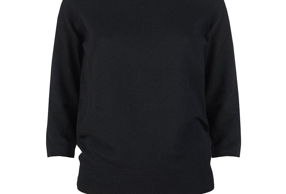 Juodas kašmyro ir merino vilnos megztinis 3/4 rankovėmis