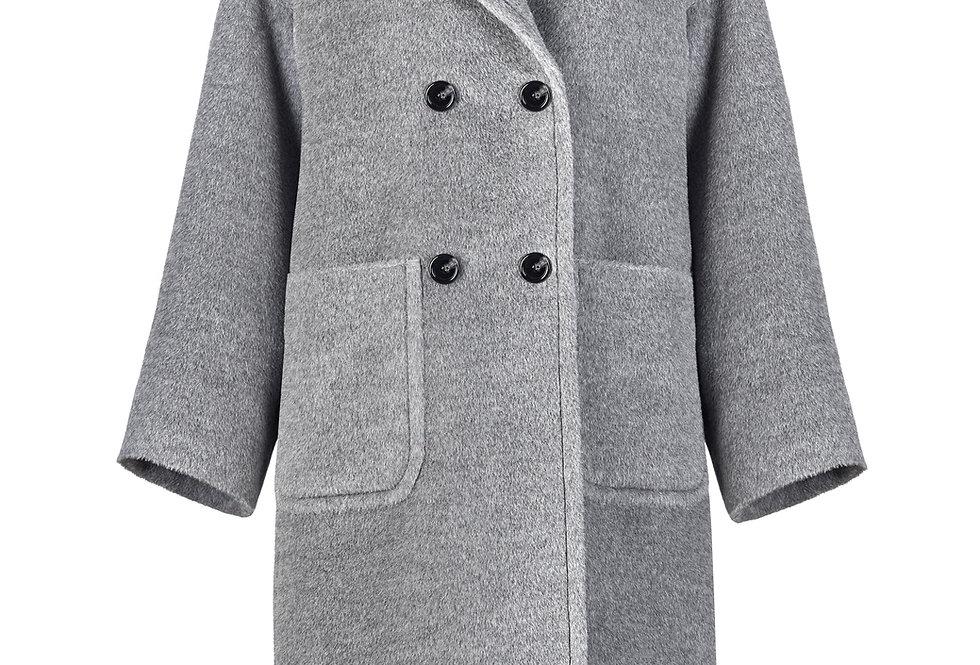 Alpakos vilnos pilkas paltas