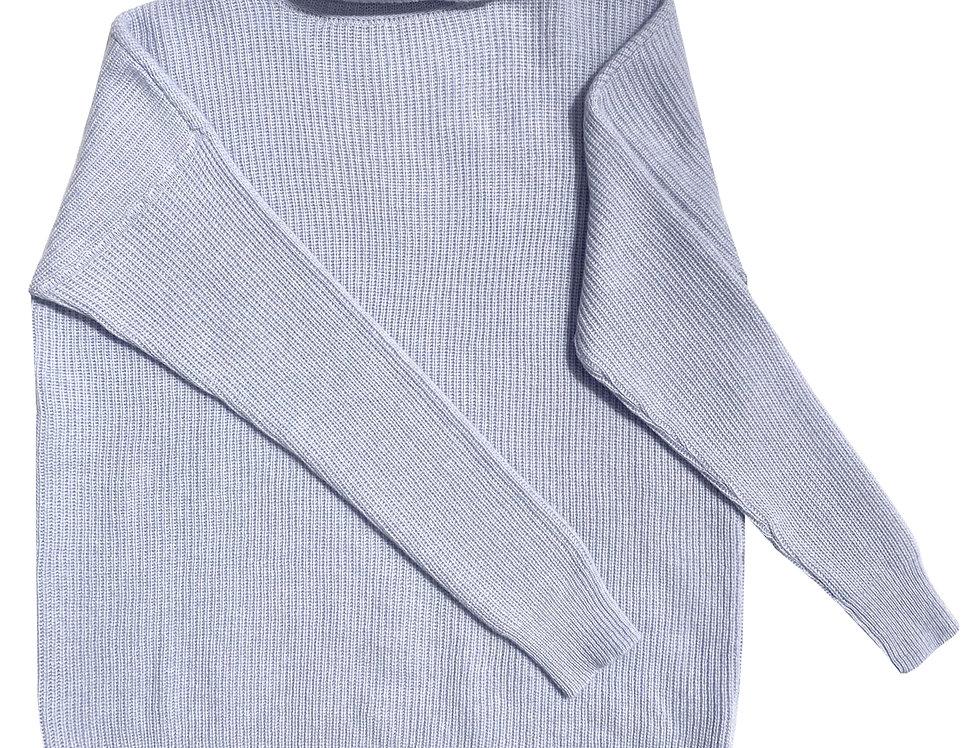 Šv. žydros spalvos ilgas kašmyro ir merino vilnos megztinis su stove