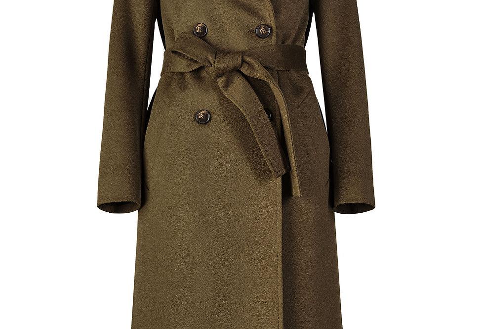 Elegantiškas samanų spalvos paltas