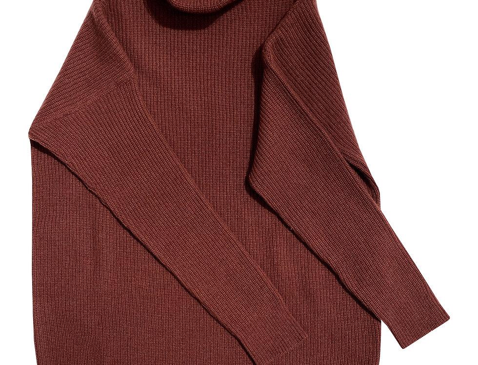 Šokolado spalvos ilgas kašmyro ir merino vilnos megztinis su stove