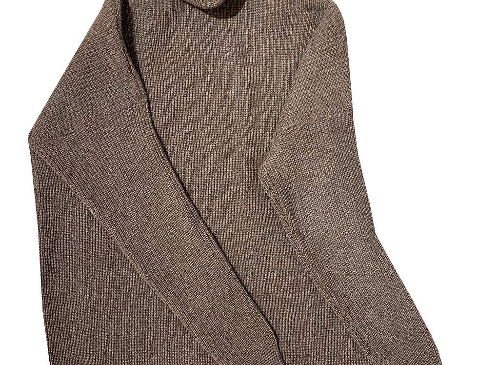 Kapučino spalvos ilgas kašmyro ir merino vilnos megztinis su stove