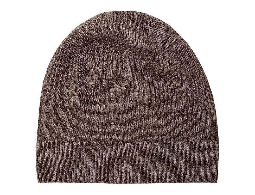 Kapučino spalvos kašmyro ir merino vilnos kepurė