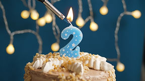 Birthday cake with 2 number candle on bl