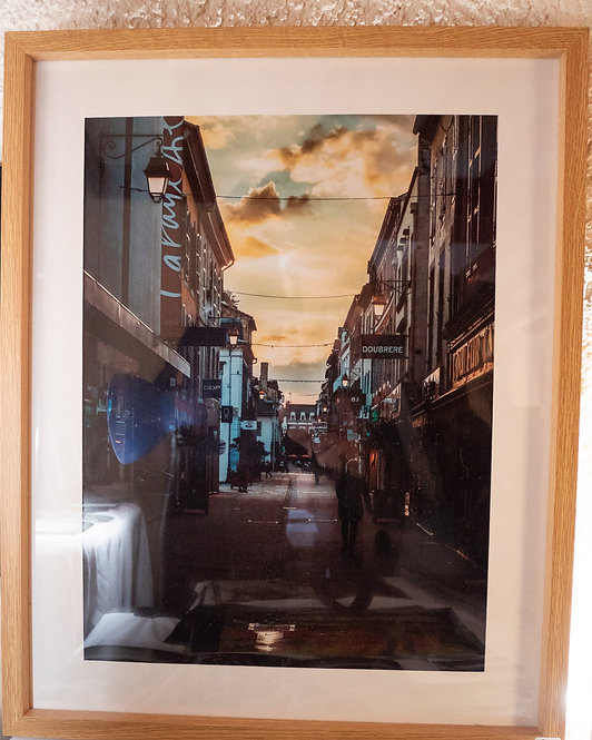 "Cadre Photo 50x40cm ""La Rue Brauhauban, Tarbes"""