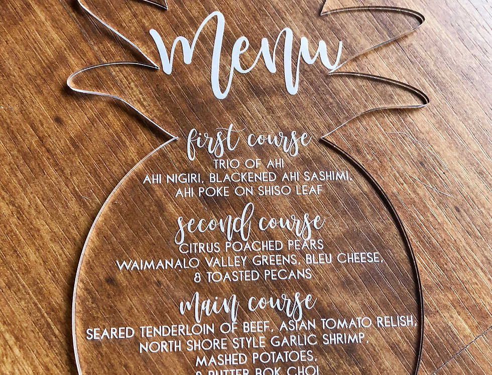 Pineapple Acrylic Menu/Invitation