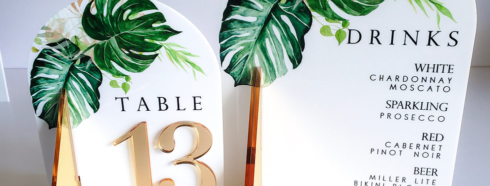 Classic Monstera Acrylic Table Number (sets)