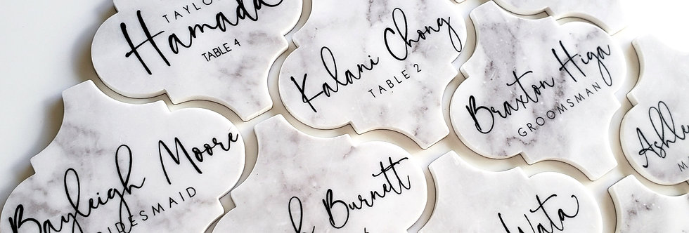 Marble Print Arabesque Place Cards
