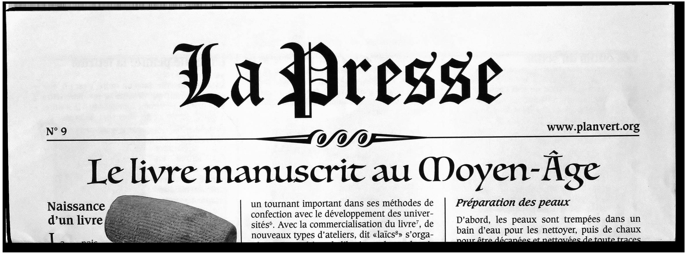 La Presse N°9 sur le manuscrit