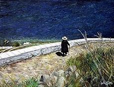 Femme en noir, Santorini - Grèce