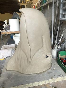 sculpture moulage préparation peinture capvert cap vert gastornis musée toulon fossile dinosaure décoration poisson résine polyester