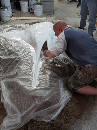 sculpture moulage préparation peinture capvert cap vert espadon décoration poisson résine polyester