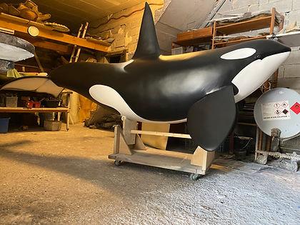 sculpture moulage préparation peinture capvert cap vert décoration poisson résine polyester orque mammifère marin