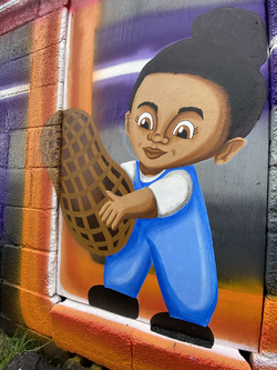 Child holding Peanut