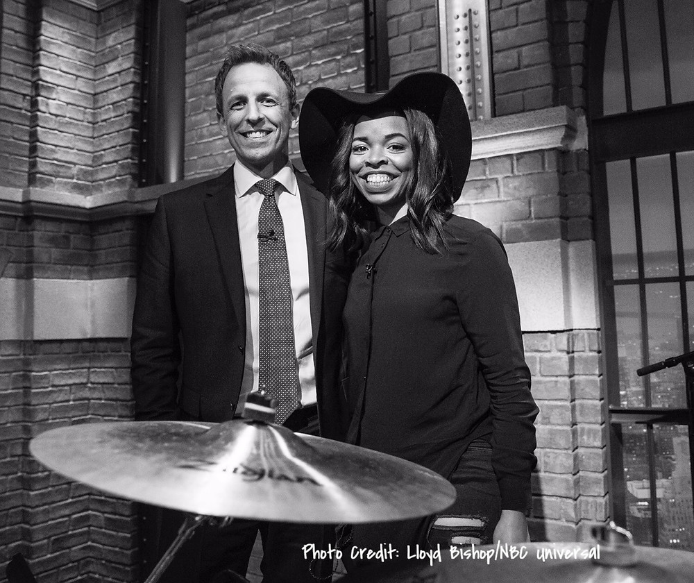 Seth Meyers and Venzella Joy. Photo Credit: Lloyd Bishop/NBC Universal