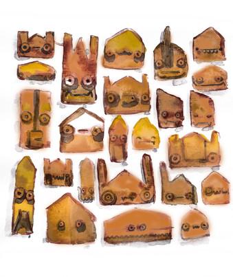 Ilustração das antigas mascaras