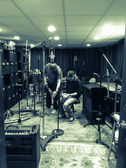 David & John setting up for guitars