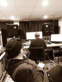 Manuel Quintana recording drums