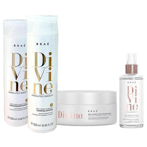 Kit Braé Divine Shampoo, Condicionador, Máscara e Máscara Líquida