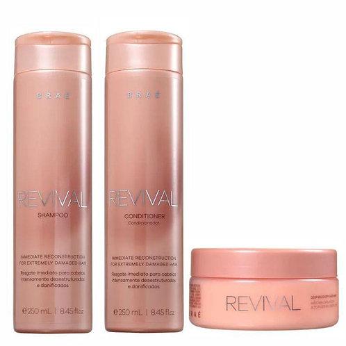 Kit Brae Revival Shampoo, Condicionador, Máscara e Ampola
