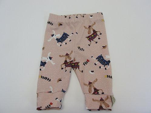 Pink Dancing Reindeer  Leggings 0-3 Months to 5 Years