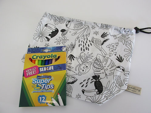 Jungle print colour your own drawstring bag