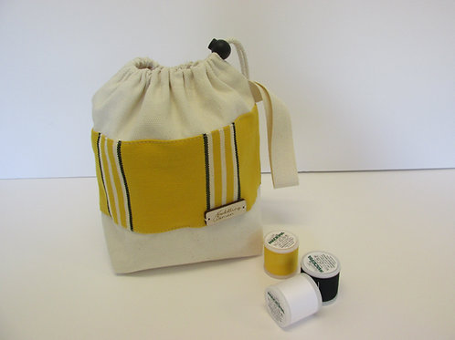 Small canvas drawstring Project Bag