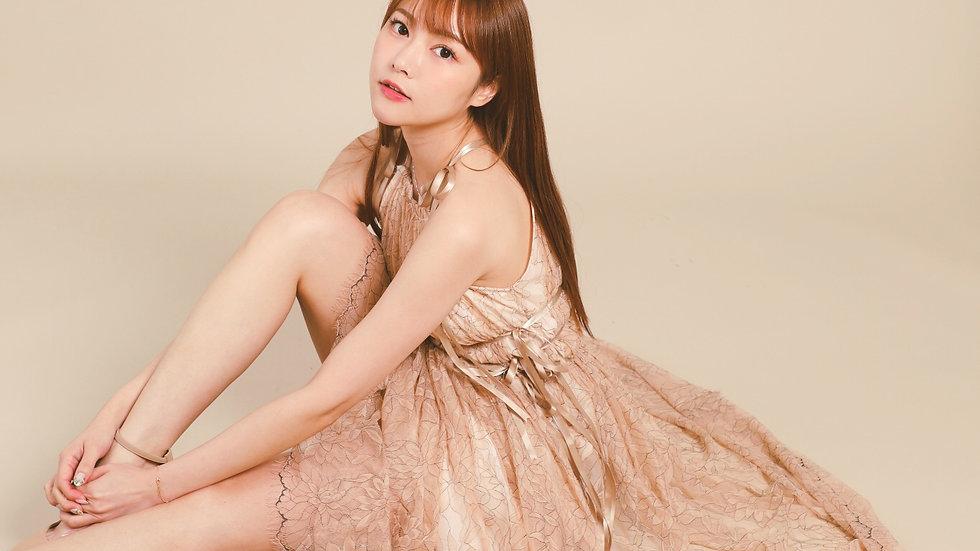 Kanalili bow shoulder straps lace dress