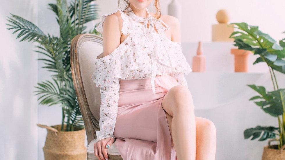 Kanalili Cotton Rose Off-shoulder Top
