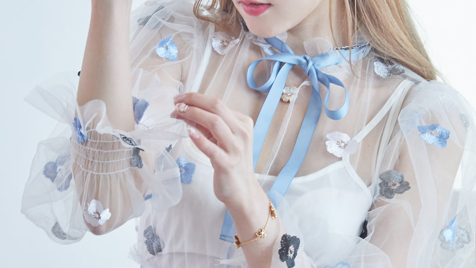 Blue and white porcelain embroidered tulle dress