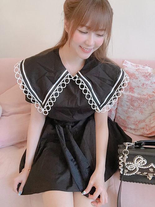 Sailor Collar Black Dress
