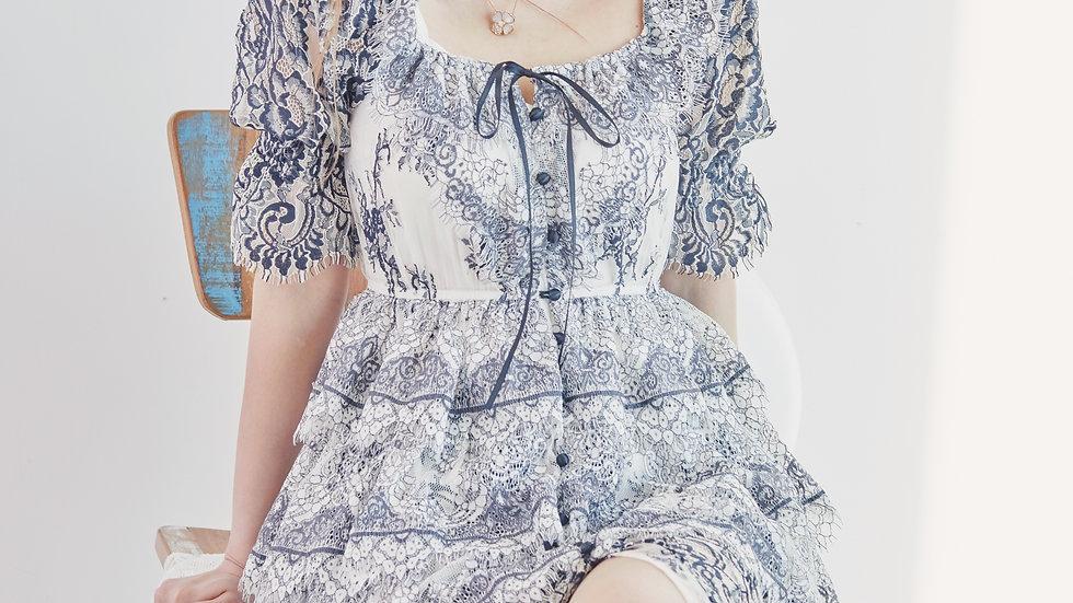 Monotone Chantilly lace button down dress