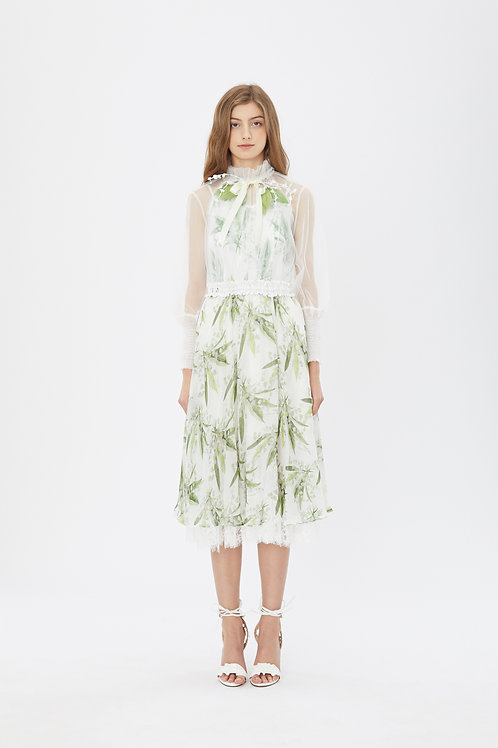 KanaLili lily of the valley silk chiffon skirt