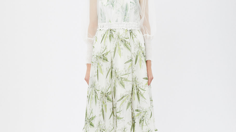 KanaLili lily of the valley silk chiffon skirt
