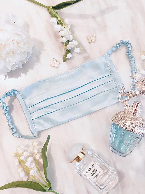Baby blue silk mask