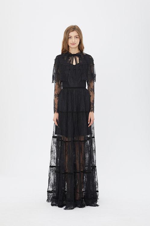 KanaLili precious black lace maxi dress