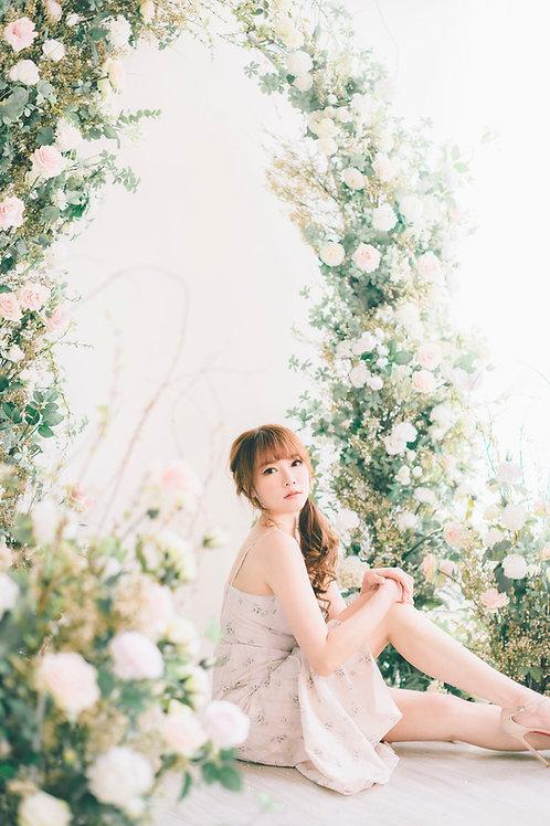 Kanalili cotton rose printed midi dress
