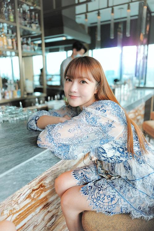 Kanalili blue and white porcelain mini dress