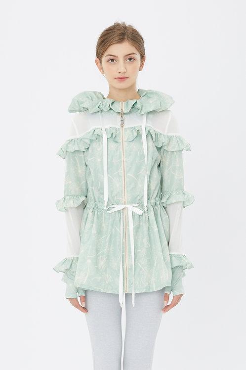 KanaLili dandelion ruffles windbreaker - mint