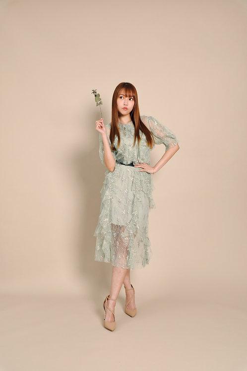 KanaLili ruffled lace midi skirt