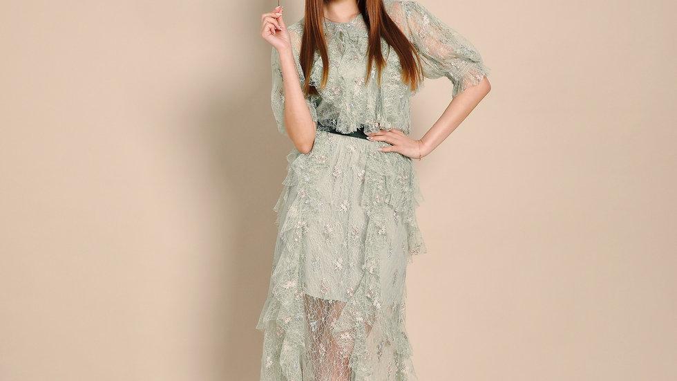 KanaLili Emma Ruffled Lace Midi Skirt