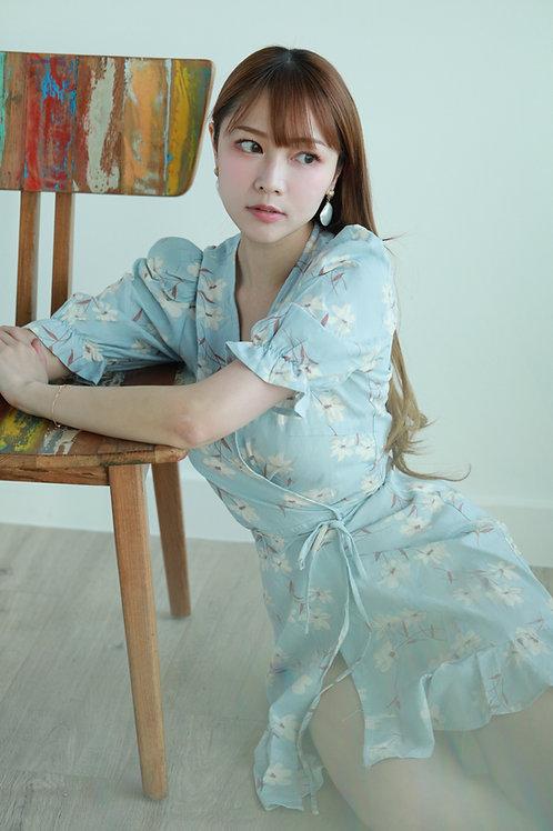 Kanalili sky blue floral mini dress