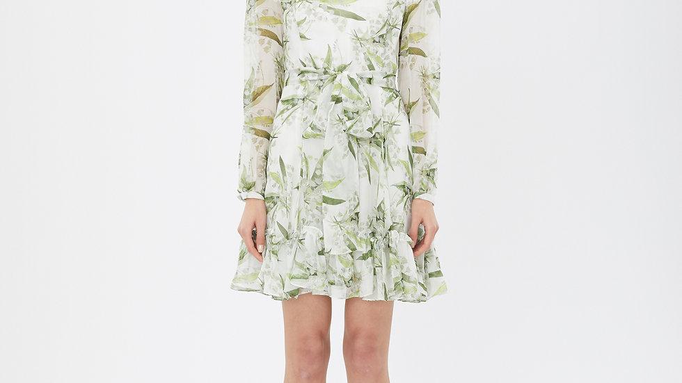 KanaLili lily of the valley silk chiffon printed dress
