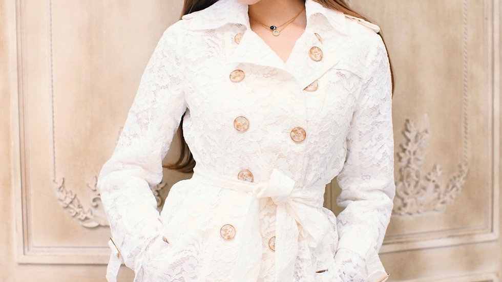Kanalili Kennedy Trench Coat in Pearl